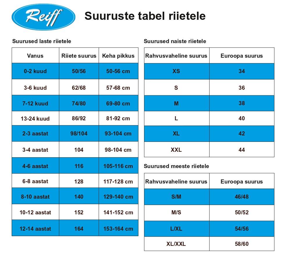 Reiff suuruste tabel riietele